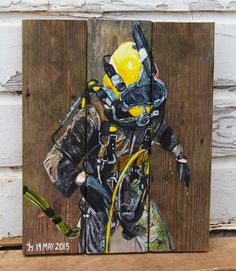 16x20. For Ben. Acrylic on Barn wood     This is a commission I completed for a client. Get your custom Barnwood painting on reclaimed recycled wood at my etsy store!   https://www.etsy.com/listing/216382246/custom-barn-wood-painting  Scuba diving. Commercial diver. Marine. Navy. Veteran. Happy Birthday gift.