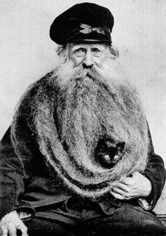 there's a cat in his beard.  amazing.  Louis Coulon, his 11 Foot Beard and Cat. France, 1904.