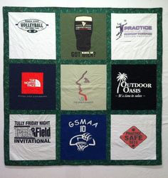 T-shirt quilt with sashing.