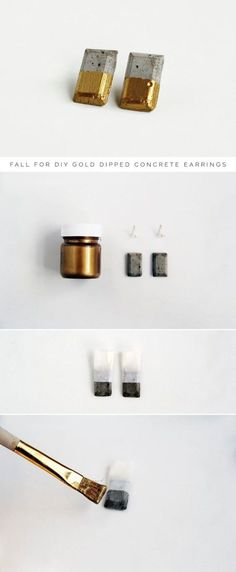 43 DIY concrete crafts - Gold Dipped Concrete Earrings- Cheap and creative projects and tutorials for countertops and ideas for floors, patio and porch decor, tables, planters, vases, frames, jewelry holder, home decor and DIY gifts. http://diyjoy.com/diy-concrete-crafts-projects