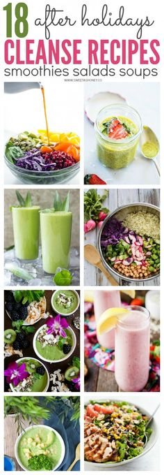 18 after holidays cleanse recipes.Juice, soup, smoothie, clean eating recipes to detox to lose weight after Christmas and New Year.