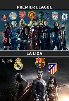 The Premier League vs La Liga Football Jokes, Football Highlight, English Premier League, Champions League, Arsenal, Marvel Dc, World Cup, Baseball Cards, Funny