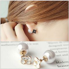 c95487f2b [$2.99] Women's Stud Earrings Double Sided Pearl Imitation Pearl Gold  Plated Flower Jewelry Wedding Party Daily Casual