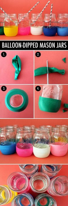 POOL PARTY OR FAMILY REUNION: Having an all-day pool party or something where it would be easier for everyone to just keep their own glass?  Get a pack of multi-colored balloons from the dollar store, cut and stretch to use to decorate the bottom. Can even use a sharpie to put their name or use as a band around the middle. Great way to decorate drinking cups for any gathering.