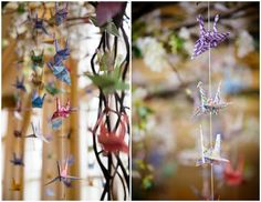 Welcome to another week of creative wedding inspiration! Drew and Lynn met through a shared interest in all things Japanese and on their tenth anniversary as a couple, they got married and it w Japanese Wedding, Japanese Style, 1000 Paper Cranes, Wedding Inspiration, Wedding Ideas, Plant Hanger, Weddings, Bride, Beautiful