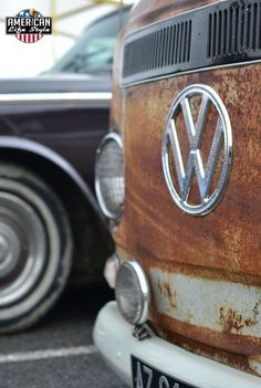 cool and rusty ♠. X Bros Apparel Vintage Motor T-shirts, Volkswagen Beetle & Bus T-shirts, Check out our stores and Great prices… ♠ Volkswagen Transporter, Volkswagen Logo, Vw T1, Vw Cars, Porsche Cars, Wolkswagen Van, Kombi Camper, Vw Beetles, Amazing Cars