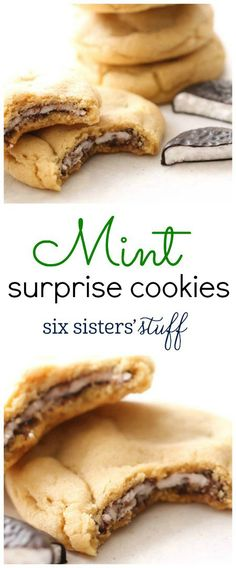 Mint Surprise Cookies from SixSistersStuff.com | Chewy cookies with a perfect, refreshing chocolate mint inside | Best Cookie Recipes Twix Cookies, Gooey Cookies, Mint Cookies, Yummy Cookies, Cookies Best, Cinnamon Roll Cookies, Christmas Desserts, No Bake Desserts, Delicious Desserts