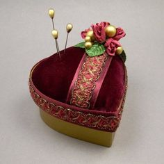 Victorian Inspired Heart Shaped Pin Cushion Trinket Box - Handmade by Towers & Turrets - Burgundy Wine Velvet Fabric Valentine Jewelry Box with Red Parchment Paper Roses by Towers and Turrets, http://www.amazon.com/dp/B00B7SI7YA/ref=cm_sw_r_pi_dp_iDAirb0Y599EX