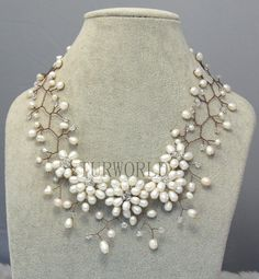 flower necklace,Bridesmaid Necklace,choker necklace,Beaded Jewelry,Pearl Necklace,beadwork necklace,bib necklace,statement necklace