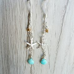 Sterling Silver Turquoise Dangling Charm Earrings - Silver Starfish Charm - Vermeil Bead Charm -  Wire Wrap Charms