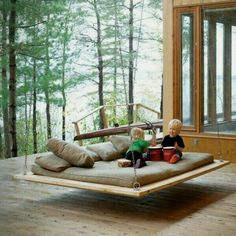 Bedroom, Modern Hanging Swinging Beds Ideas Wonderful Wooden House Architecture Design With Large Window And Awesome Outdoor Hanging Bed Swing Modern Hanging Swinging Beds Ideas Outdoor Spaces, Outdoor Living, Outdoor Beds, Outdoor Swings, Outdoor Lounge, Outdoor Hanging Bed, Outdoor Couch, Indoor Outdoor, Outdoor Furniture