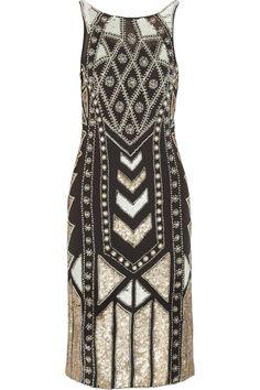 Needle & Thread|Geo Era embellished crepe dress
