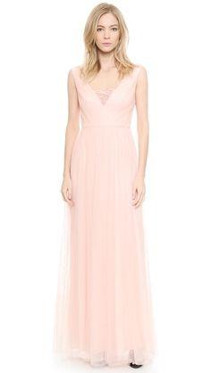 Blush pink v neck bridesmaid dress