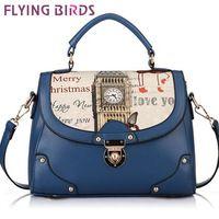 FLYING BIRDS! 2014 new free shipping Cartoon Printed women leather handbag messenger shoulder bags high quality purse LS1983