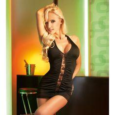 Black & Sexy    Zachte transparante mini jurk met aan de voor en achterzijde sexy kanten inzet stukjes die geheel zijn bewerkt met vele plooitjes. Perfecte pasvorm door het zeer soepele materiaal.