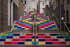 """""""Guerrila Knitting"""" at Sussex Lane in Sydney, Australia by Magda Sayeg, as part of Art & About Syndey, 2011."""