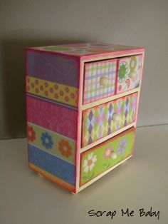 mod-podge and scrap paper for decorating or re-furbing dresser drawers, jewelerry boxes etc