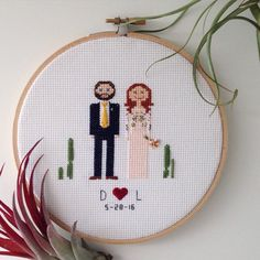 A custom order keepsake cross stitch is a unique and quality made item. Each piece is designed with the couple receiving it in mind. It comes in a 6 round embroidery hoop, and the cross stitch fabric is white. The lettering is stitched with black thread which can be changed upon request.    After ordering, please email or message me with the following information,    -Eye color of the bride and of the groom  -Hair color of the bride and of the groom  -Hair style of the bride and of the groom…