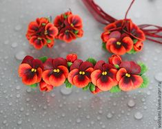 Polymer clay jewelry set with pansies - red pansies pin - red pansies earrings - red pansies pendant - flower jewelry