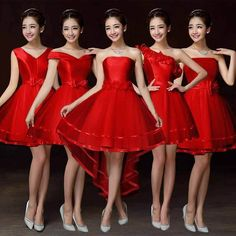 Red Evening Prom Party Wedding Bridesmaid Dress Women'S Short Dress Bowknot 435Y