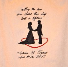 "What a perfect gift for that special couple! This is a picture of the wedding blanket that will be embroidered on with your design choice. This white cotton throw  blanket measures approximately 50""x 60"". Machine washable in cold water and tumble dry.  $65.00  sew-n-lovebycarol.com"