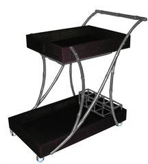 The Society Social Tipple Trolley Bar Cart in Black and Silver