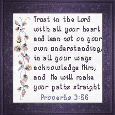 Trust  - Proverbs 3:5-6 Quick Stitch Promises - Small Inspirational Cross Stitch Designs