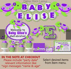 Girl Purple TURTLE Baby Shower or Birthday Party by bcpaperdesigns, $2.00