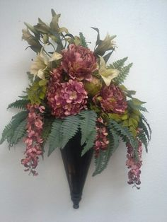 Sconce with peonies and lilies for our church