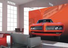 Fototapete Tapete Pontiac GTO in rot US Car rot Floral Foto 360 cm x 270 cm