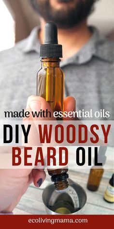 This DIY woodsy beard oil recipe is made with essential oils (cedarwood and bergamot, oh my!) and is super simple to make. Jojoba oil and almond oil promote healthy beard growth and a soft beard worth snuggling. Your manly man will love this easy stocking Diy Beard Oil, Oil For Beard, Homemade Beard Oil, Beard Growth, Pure Oils, Cuticle Oil, Beard Balm, Lotion Bars, Diy Skin Care