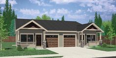 House front color elevation view for Narrow duplex house plan, 3 bedroom 2 bath, garage, House Plans 3 Bedroom, Garage House Plans, House Plans One Story, Family House Plans, Small House Plans, Car Garage, Story House, One Level House Plans, Duplex Floor Plans