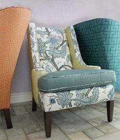 Schumacher contrast fabric back chair Sinhala floral