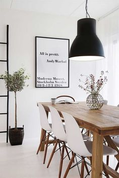 Modern White & Black Dining Room Ideas For Small Space And Rustic Expanding Teak Wooden Dining Table Design And Futuristic Black Hanging Lamp Idea Also White Wall Paint Colors Desing Plus Natural Potted Plant Design Ideas