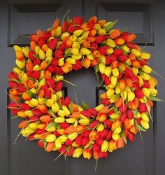 Spring Wreath- Door Wreath- Easter Wreath- Tulip Wreath- 20 inch, custom colors- The Original Tulip Wreath