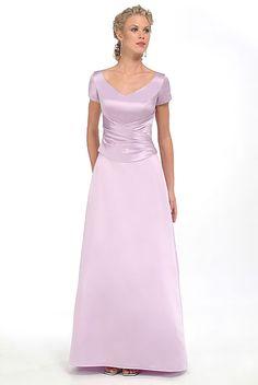 2015 Ruched Lilac Satin V-neck Short Sleeves Floor Length Mother of the Bride Dresses MBD0026