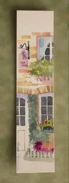Watercolour on card by Vanessa de Azevedo Watercolor Bookmarks, Watercolor Projects, Watercolor Cards, Watercolour Painting, Painting & Drawing, Watercolors, Creative Bookmarks, Book Markers, Arte Sketchbook