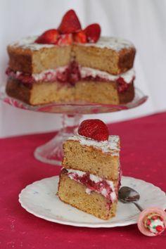 Grain free sponge cake with homemade strawberry jam and coconut cream.