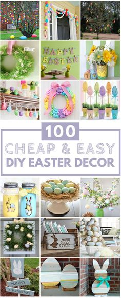 100 Cheap & Easy Easter DIY Decorations These DIY Easter decorations are budget-friendly and easy to make! There are over a hundred fun and colorful ideas for Easter decorations. Spring Decoration, Diy Easter Decorations, Office Decorations, Decoration Crafts, Easter Crafts, Holiday Crafts, Holiday Fun, Bunny Crafts, Easter Ideas