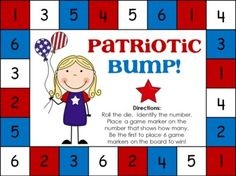 """Here's a patriotic themed """"bump"""" game for practicing basic addition facts."""