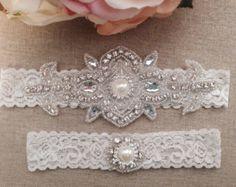 Wedding Garter Bridal Garter Pearl and by BellaFleurBridal