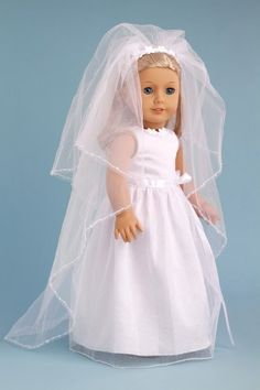 Veil Story - White Satin and Sparkling Tulle Communion / Wedding Dress with Matching Shoes and Long Veil - Clothes for American Girl Dolls