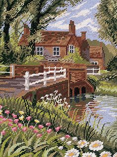 Summer River Tapestry Kit By Twilleys of Stamford Cross Stitch Love, Beaded Cross Stitch, Counted Cross Stitch Kits, Cross Stitch Flowers, Cross Stitch Designs, Cross Stitch Embroidery, Cross Stitch Patterns, Tapestry Kits, Cross Stitch Landscape