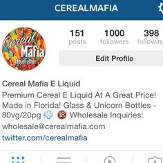 1000 followers!!! Thank you so much to everyone who has made this possible. We are so humbled and flattered that 1000 people follow Cereal Mafia!  Thank you to the flowing #vapefam for all of your support:  @_iza_ovcrew_  @jadechipman  @cloudchasingdime  @alexis_wrecksus  @cl0udy._.daze  @_vape_queen  @norii_peace  @fitvape_bunny  @young.trap.goddess  @subohm_peanut  @outlawsvapecrew  @oliviagoudreau  @bella_vapes  @caitsage26  @drip_doll  @annaclaireclouds  @redjason22  @leocordeoc83…