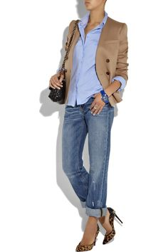 Casual chic. Might pair with dark blue skinny jeans instead.