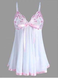 Embroidered Plus Size Mesh Lingerie Bodydoll Slip Dress - White - Lingerie Outfits, Lingerie Dress, Pretty Lingerie, Beautiful Lingerie, Lingerie Sleepwear, Lingerie Set, Lingerie Underwear, Ropa Interior Babydoll, Plus Size Lingerie