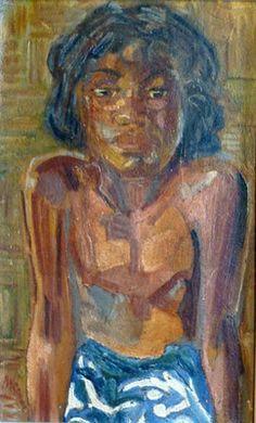 Portrait au pareo bleu  45x28