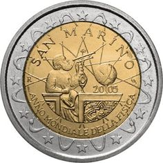 euro: World Year of Physics San Marino Mintage year: 2005 Issue date: Face value: 2 euro Diameter: mm Weight: g Alloy: Bimetal: CuNi, nordic gold Quality: Proof, BU, UNC Mintage: pc