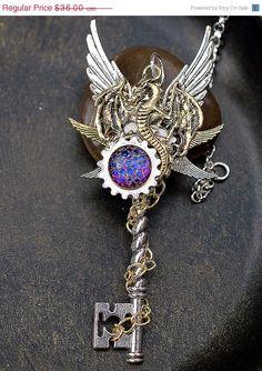 SALE Hatching a Dragon Key Necklace by KeypersCove on Etsy