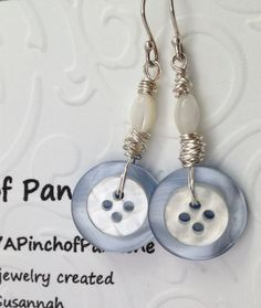 Light Blue Button Earrings Blue Button Earrings by APinchofPanache, $13.95 To see more of my handmade jewelry items and supplies for sale, please visit my online Etsy store at:  https://www.etsy.com/shop/APinchofPanache Jewelry Crafts, Resin Jewelry, Beaded Jewelry, Leather Jewelry, Jewelry Shop, Boho Jewelry, Antique Jewelry, Silver Jewelry, Diy Earrings
